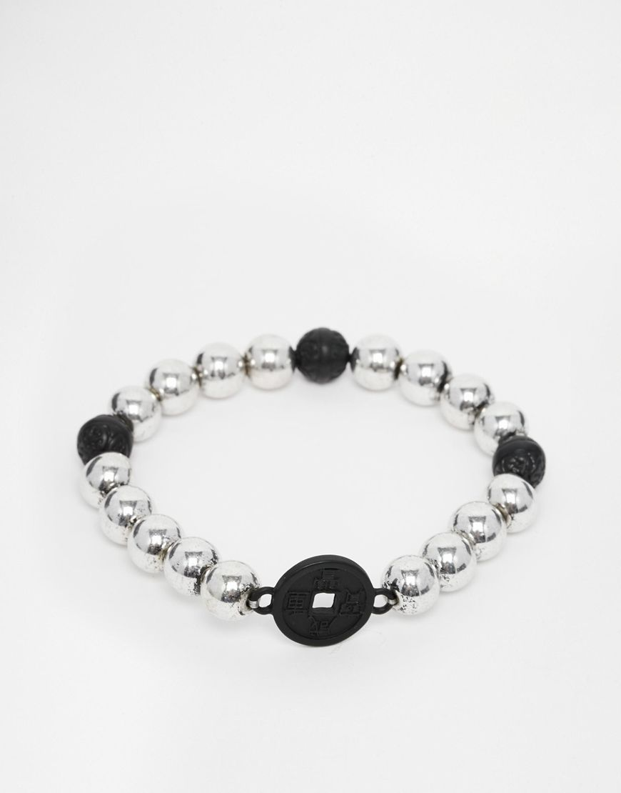 Armband von ICON BRAND silberfarbene Optik Perlenverzierung elastisches Band zum Überziehen 60% Zinklegierung, 40% Kupfer Länge: 21 cm/8 Zoll