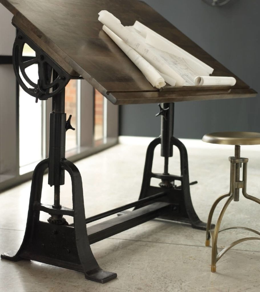 Furniture Cast Iron Antique Industrial Drafting Table