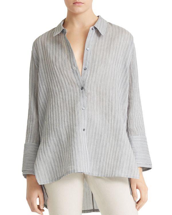 Halston Heritage Womens Long Sleeve Wide Cuff Cotton Shirt