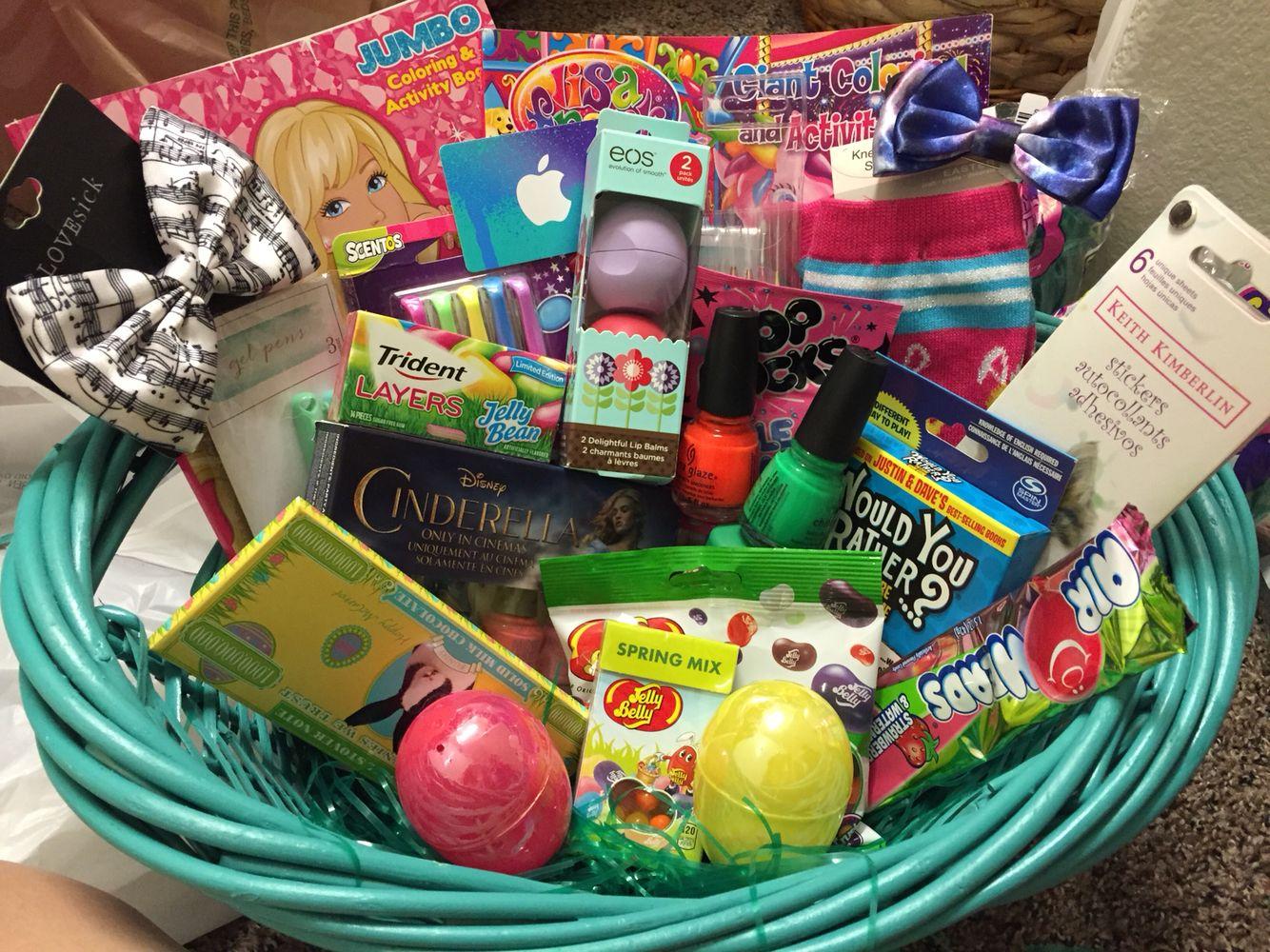 Tween Girl Easter Basket iTunes giftcard, nailpolIsh, candy, bows ...