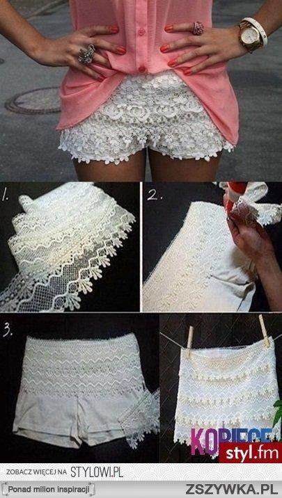 38ac38aa50 DIY – Lace Shorts out of White Soffe Shorts. How cute!!