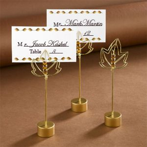 Gold Leaf Wedding Table Place Holders Fall Themed Card