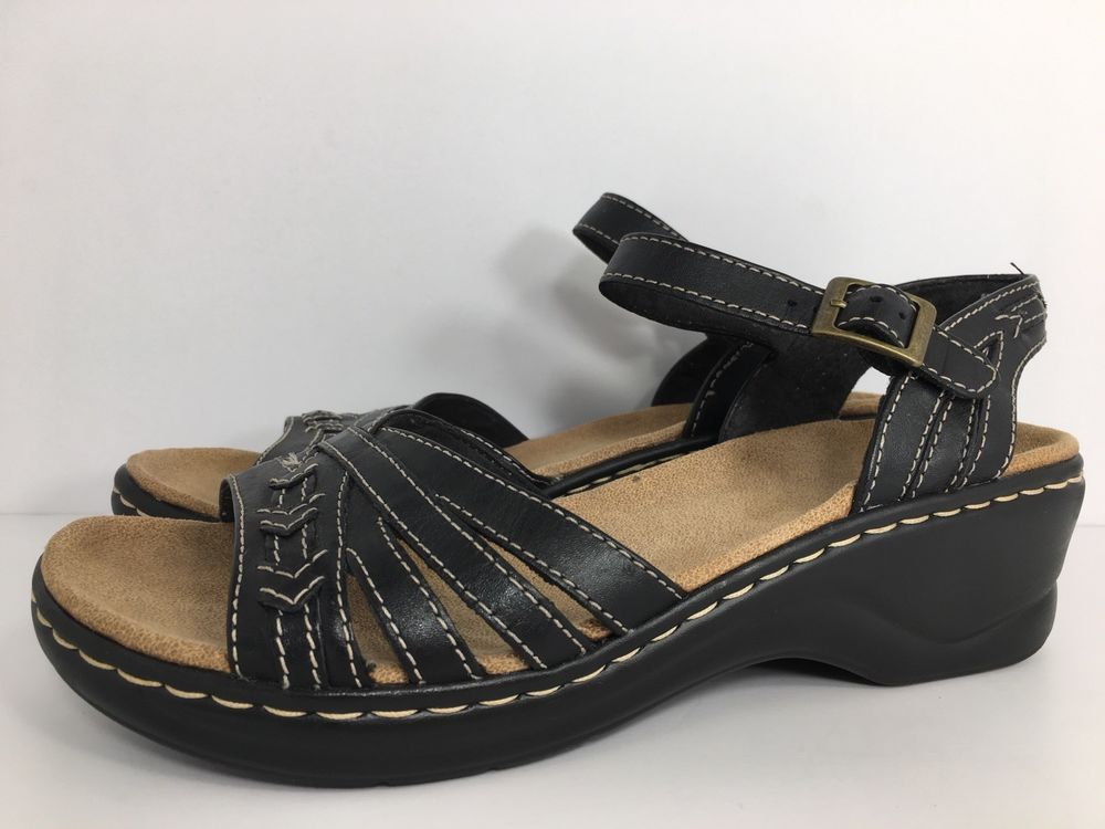 7f024b07c7ad Clarks Bendables Women s Lexi Norwich Black Leather Sandals 65127 Size 8M