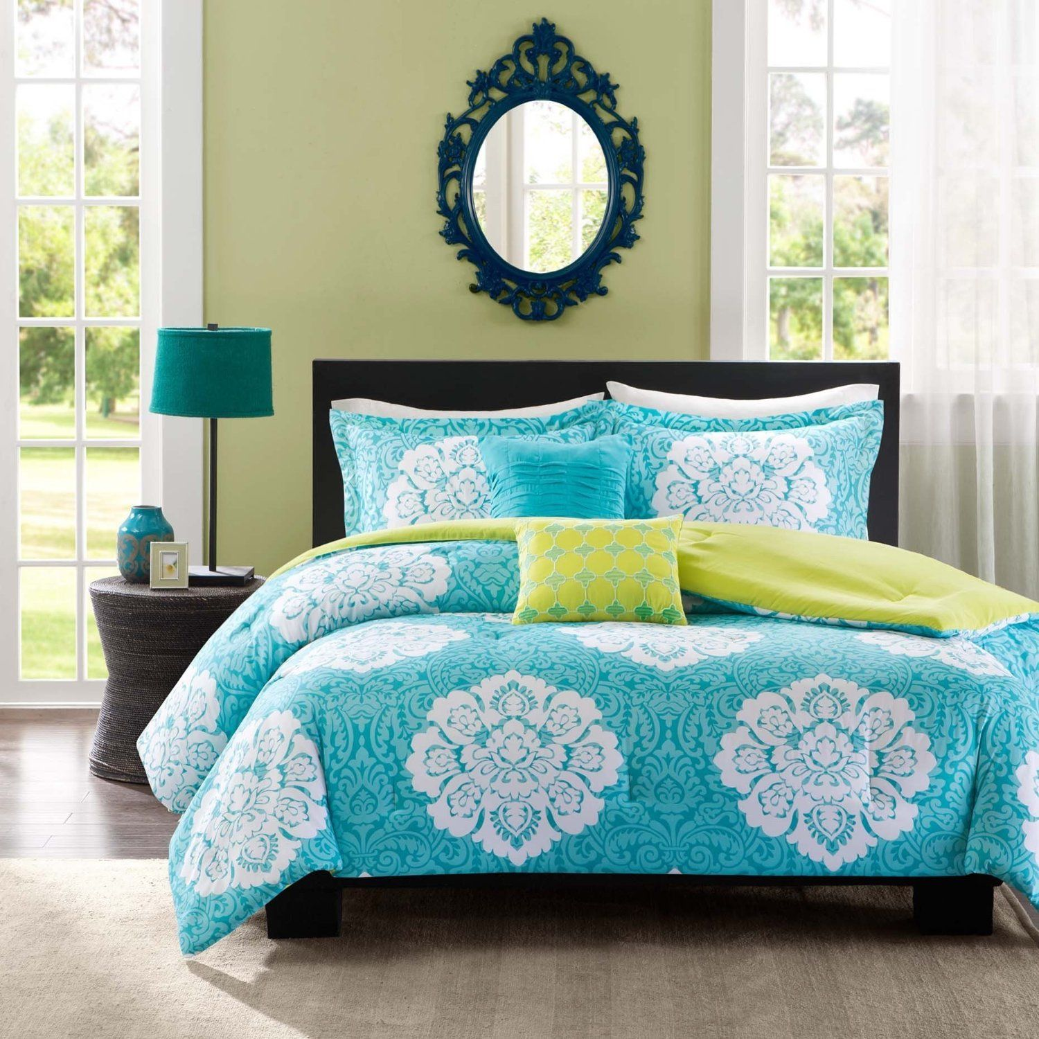 snazzy white set house for design tips mint your pieces sets on comforter with green chezmoi tree collection queen