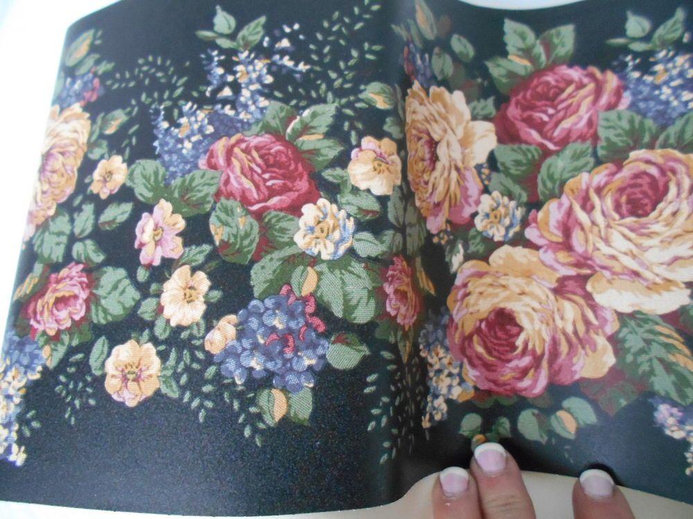VTg Berkshire Wall Paper Border Floral Black Roses Pre