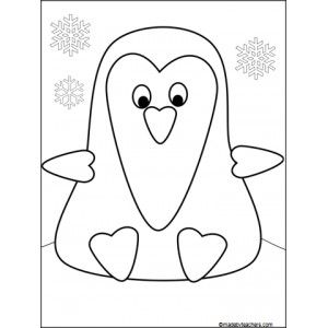 Cute Penguin Colouring Picture- can be used ask a drawing