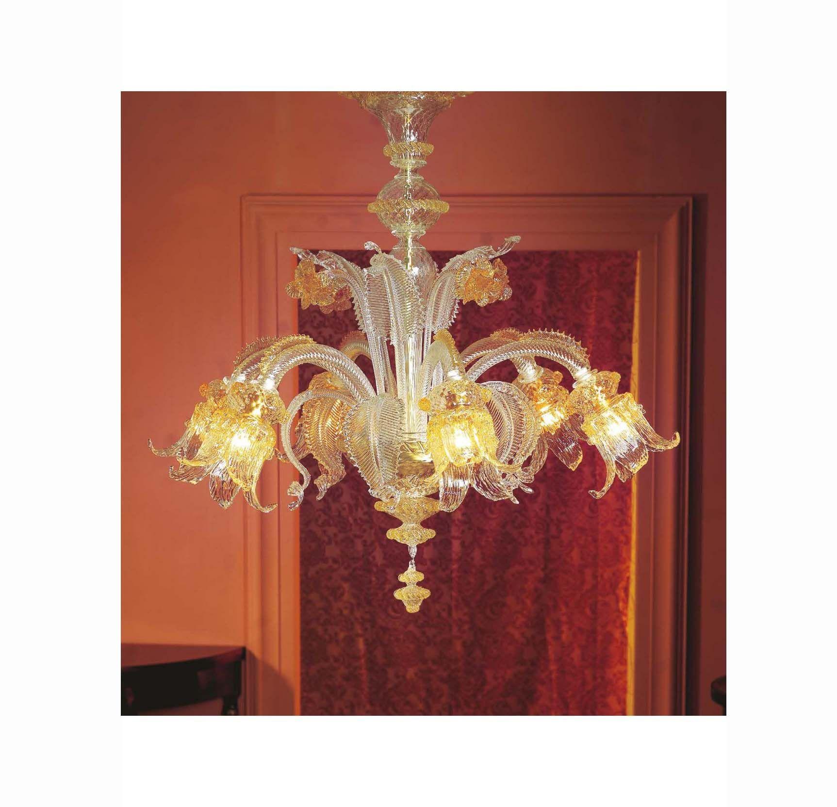 Lampadario murano di venezia ambra 6 luci made in italy