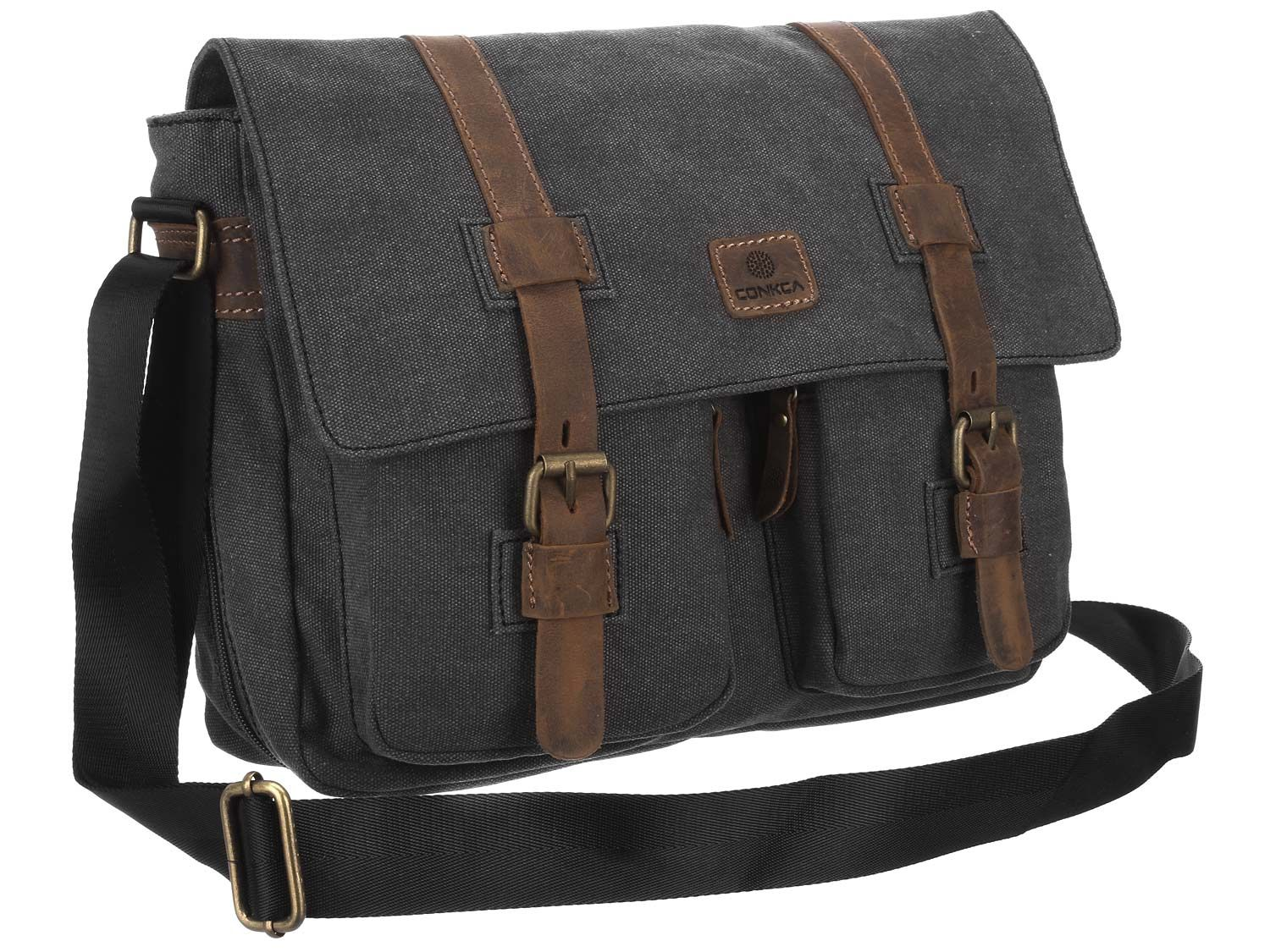 Black Canvas Messenger Bag Mhktxu | Accessoires mode homme | Pinterest