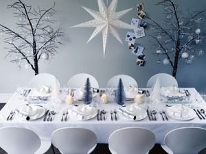 Winter Wonderland Table Setting Holiday Party Decorating Contemporary Christmas Contemporary Christmas Decor Christmas Table Decorations