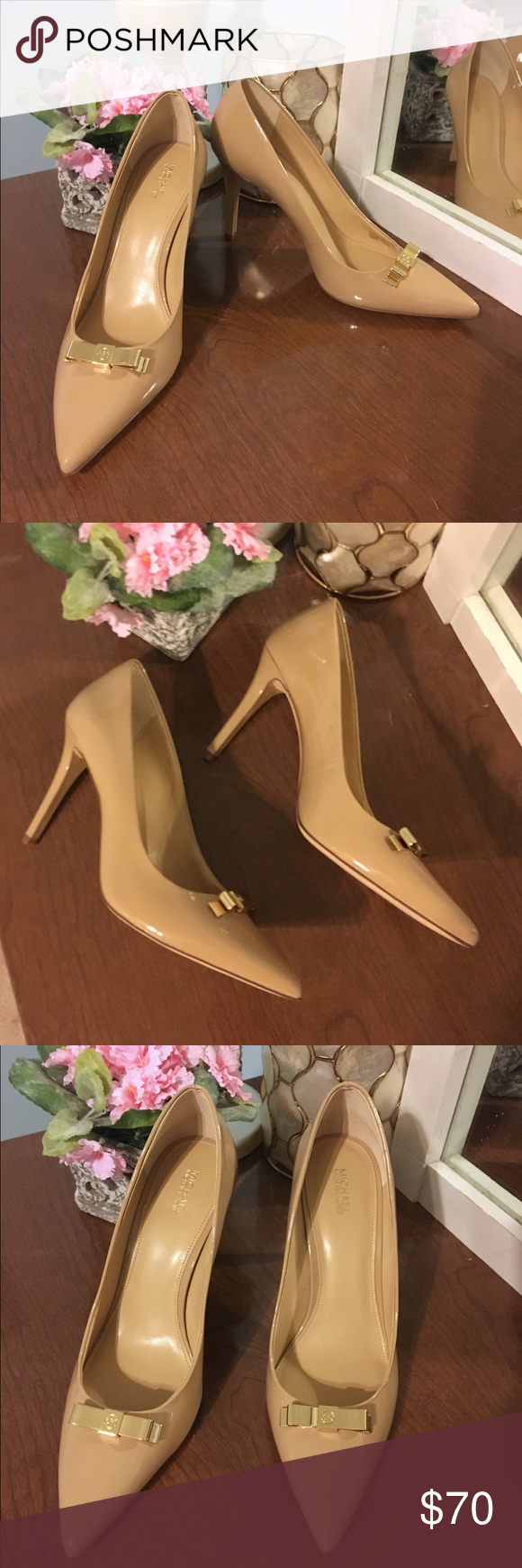 a2b543fd567c NEW Michael Kors nude pumps w gold bow
