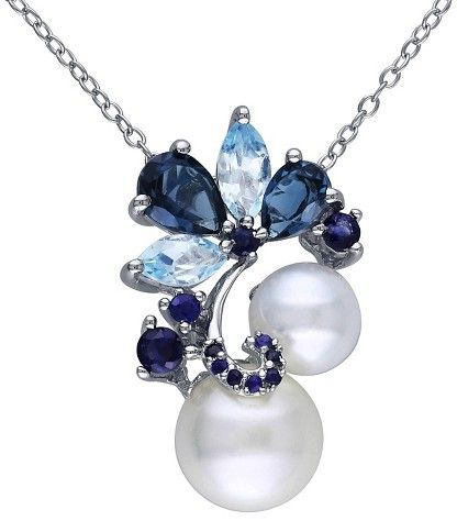 "Allura  ""Freshwater Pearl with Topaz and Sapphire Pendant Necklace in Sterling Silver - White/Blue (18"")"""