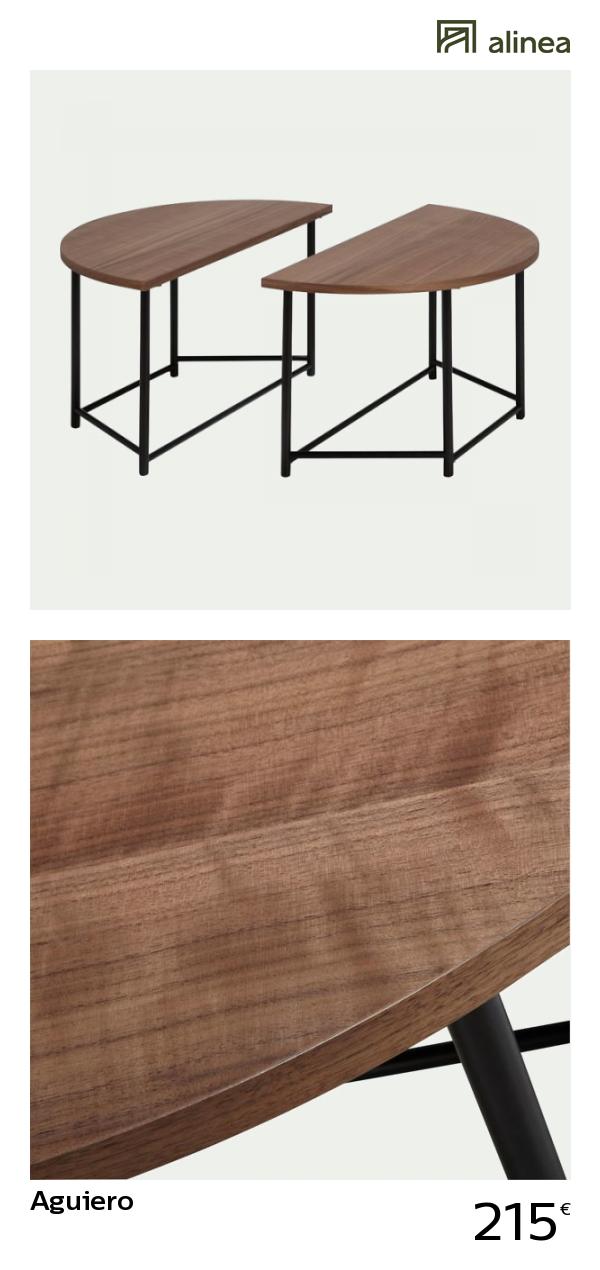 Alinea Aguiero Table Basse Ronde Modulable Coloris Noyer Avec Pietement En Metal Les Selections Alinea Les Table Basse Ronde Table Basse Mobilier De Salon