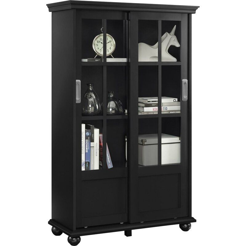 Franconia 51 H X 31 75 W Standard Bookcase Bookcase With Glass Doors Bookcase Sliding Glass Door Black bookcase with glass doors
