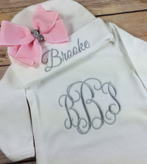 This monogrammed baby onesie set will make a wonderful personalized this monogrammed baby onesie set will make a wonderful personalized baby gift for the proud parents negle Images