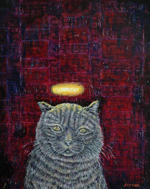 brittish lilac cat angel  art print animals impressionism artist  11x14