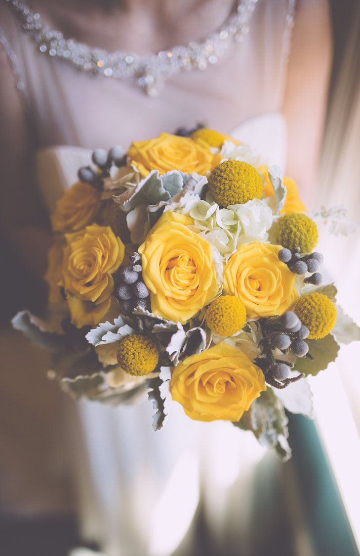 Yellow And Gray Bouquet Swatch Studios Httpstheknot