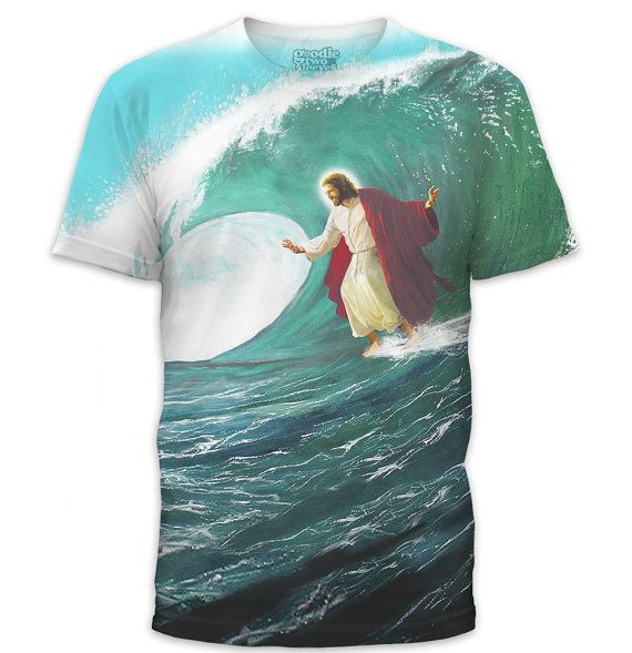 Photo of Surfs Up Jesus Men's T-Shirt (GT3670-285SUB) Funny tee, geeky gift, Jesus shirt, Jesus surfing, christian clothing, surfing, beach, summer