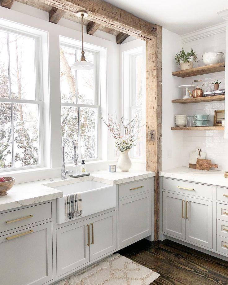 Best Ideas to Decorate Your Modern Country Kitchen - Install Big Farmhouse Sink! #kitchen #kitchendecor #interiordesign #homedecoridea