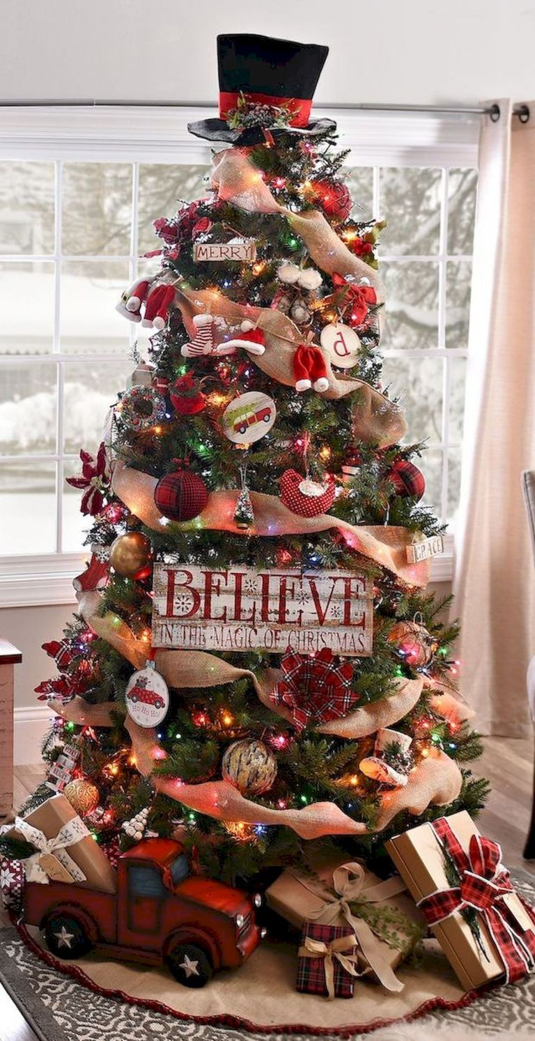 80 Beautiful Christmas Tree Decorating Ideas You Should Try 60 Home Design Cool Christmas Trees Christmas Decorations Rustic Tree Rustic Christmas Tree
