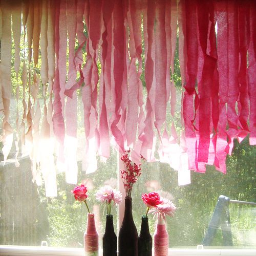 About to pop baby shower crepe paper party venues and ombre for Paper curtains diy
