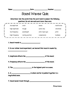 Sound Waves Quiz | Science and Social Studies | Sound waves, Waves