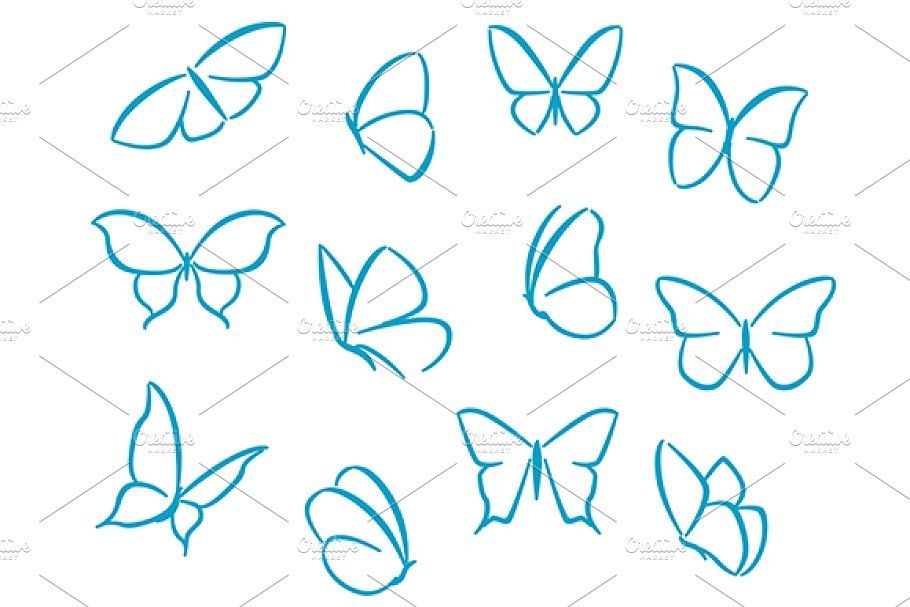 Butterflies silhouettes , #AFF, #symbols#silhouettes#Butterflies#design #AD