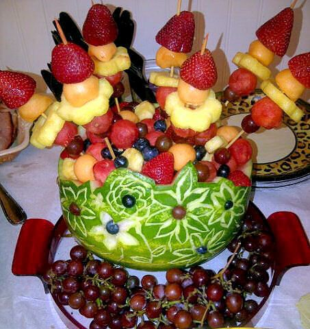 Carved Watermelon Fruit Bowl with skewers | BAKED JUST FOR ...