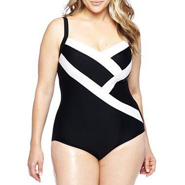 delta burke® v-neck colorblock tank 1-piece swimsuit - plus