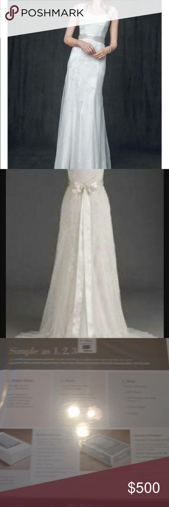 Wedding dress preservation kit  Wedding dress Never been worn Size  Ivory gown with cap sleeves