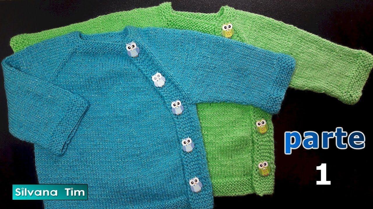 CHAQUETA Ranglan con botones para bebes. PARTE 1 Tejido con dos agujas  . 4bc3992dd8a