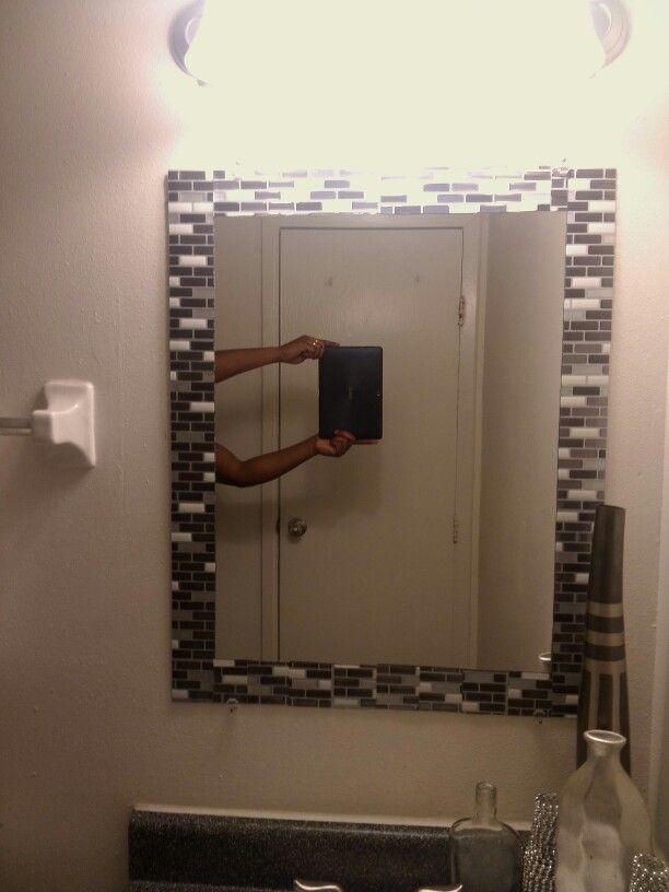 Gel Peel And Stick Tile Framed Mirror Mirror Frame Diy Bathroom Mirror Frame Bathroom Mirrors Diy