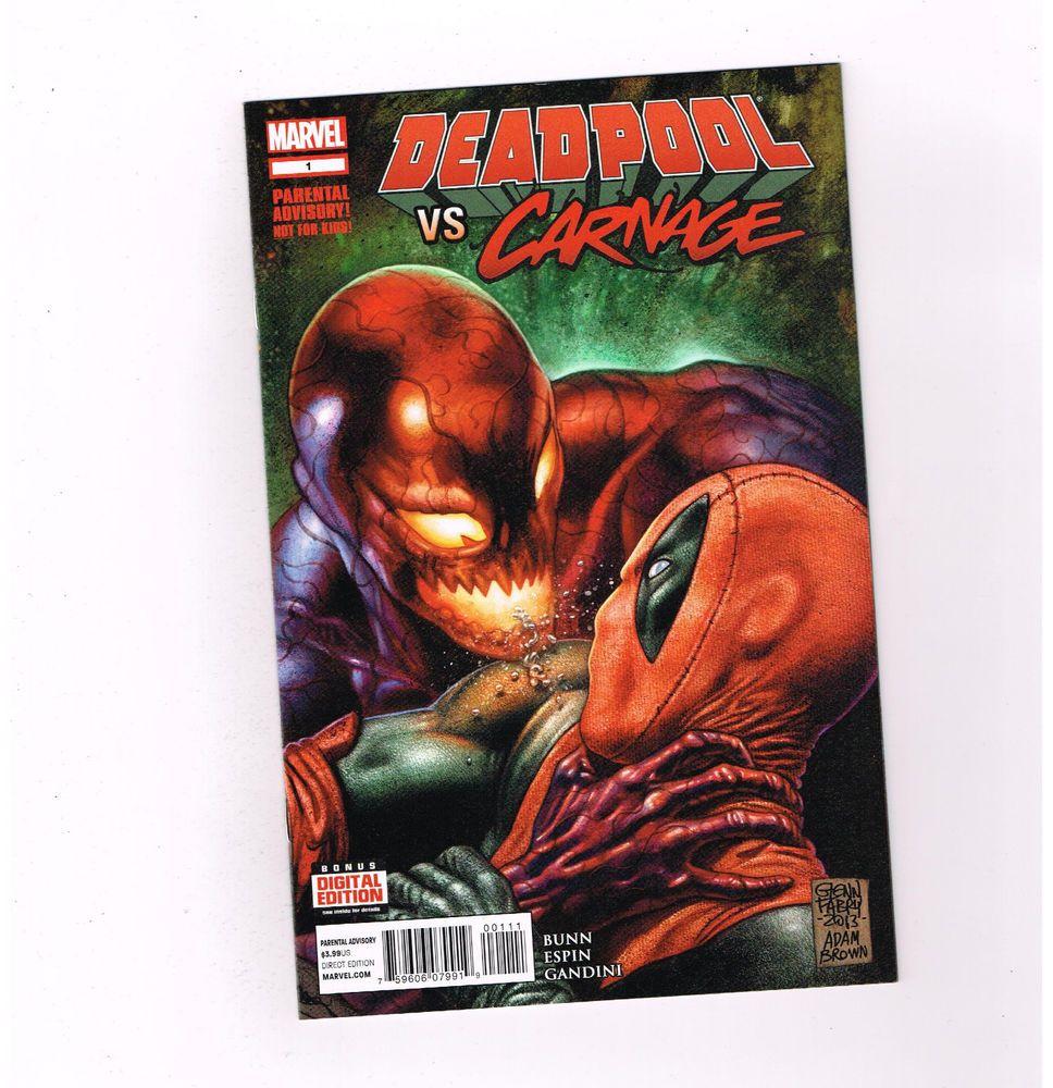DEADPOOL VS CARNAGE 4-part all first print series from Marvel Comics! NM http://www.ebay.com/itm/DEADPOOL-VS-CARNAGE-4-part-all-first-print-series-from-Marvel-Comics-NM-/301315571015?roken=cUgayN