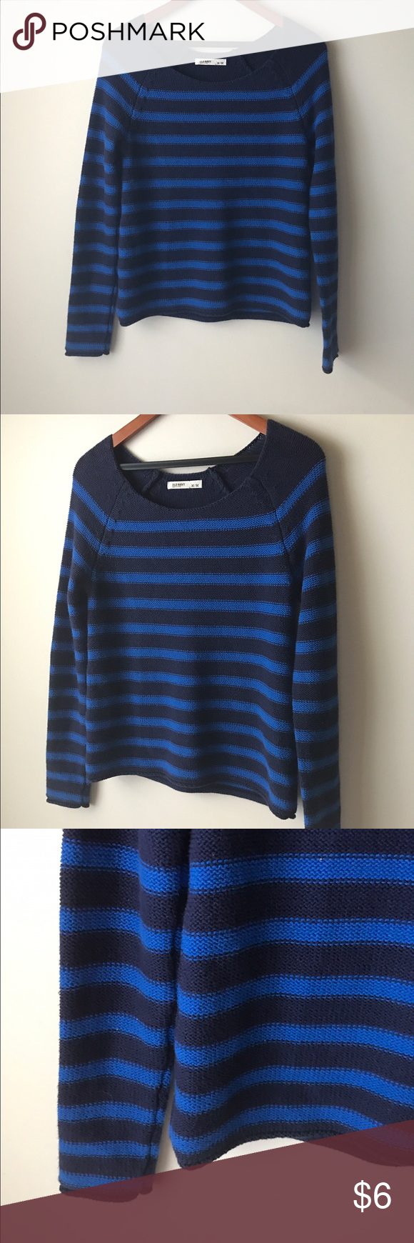 Old Navy blue striped knit sweater | Cobalt blue, Navy sweaters ...