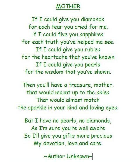 a mothers prayer   gak ngiro rame: Mothers Day Poems 02   Quotes ...