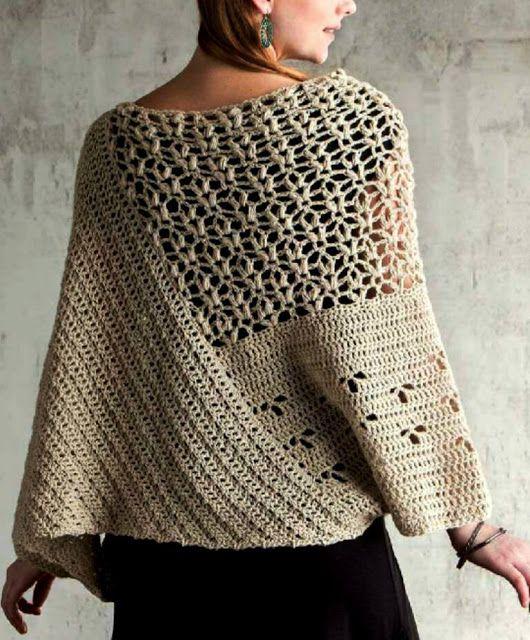 Patrón #807: Poncho a Crochet | CTejidas [Crochet y Dos Agujas ...