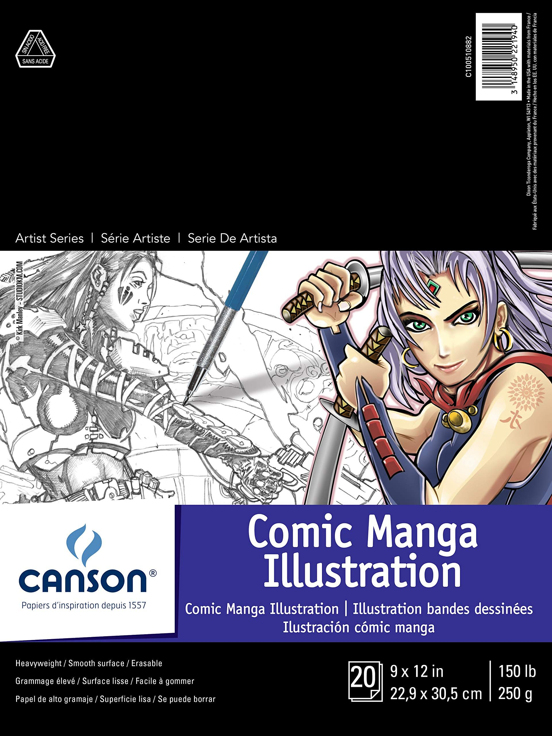 """Canson Artist Series Comic Manga Illustration Pad, 9"""" x 12"""", Fold-over Cover, 20 Sheets (100510882)"""