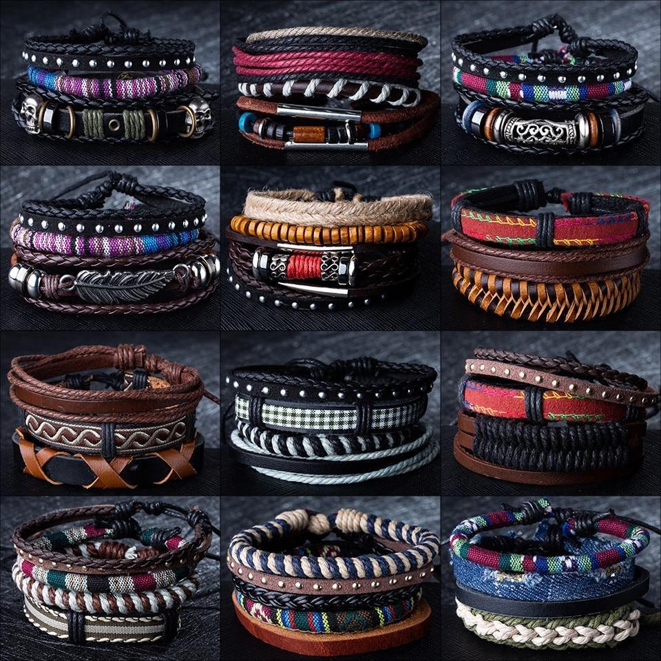 12 Style Metal Leather Bracelets Men Jewelry Vintage Classic Retro Plant Charm Bracelet Bangles Homme Male Mens Leather Bracelet Bracelets For Men Mens Jewelry