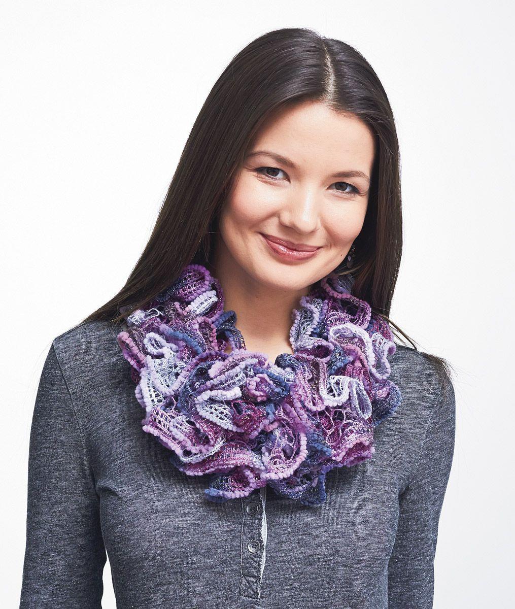 Patons Pirouette Cowl Knit Crochet Crochet Ruffle Scarf