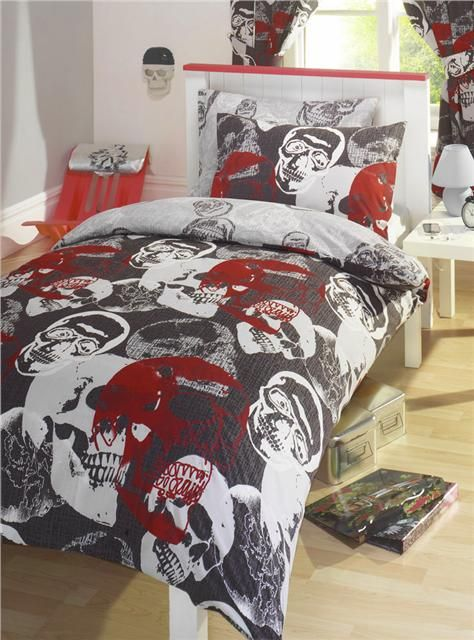 Details about DUVET QUILT COVER BED SET / CURTAINS - RED ...