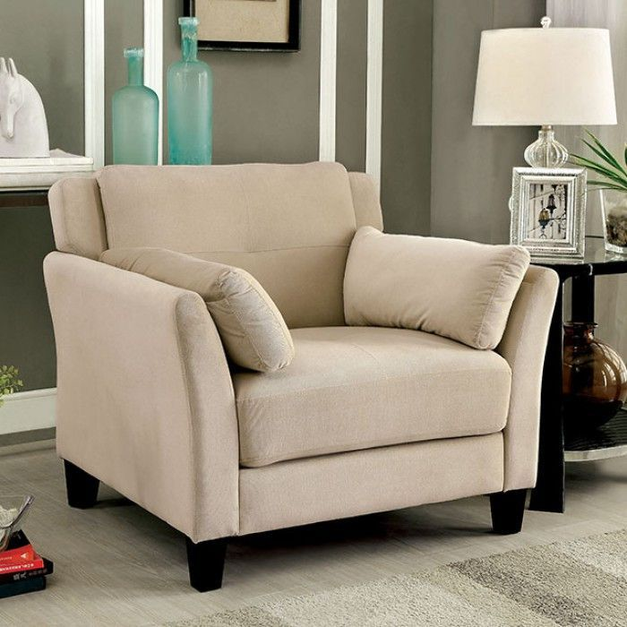 Ysabel Chair - CM6716BG-CHDescription :Add some modern charm to your home with this flannelette living room chair. The tufted cushions provide visual interest while the slightly angled back and armrests offer the best setting for long movies or gatherings. Available in 3 color options.Features :Contemporary StyleCushioned Inside ArmrestsTufted CushionsFlannelette FabricAvailable in 3 ColorsBeigeDimension Chair:36