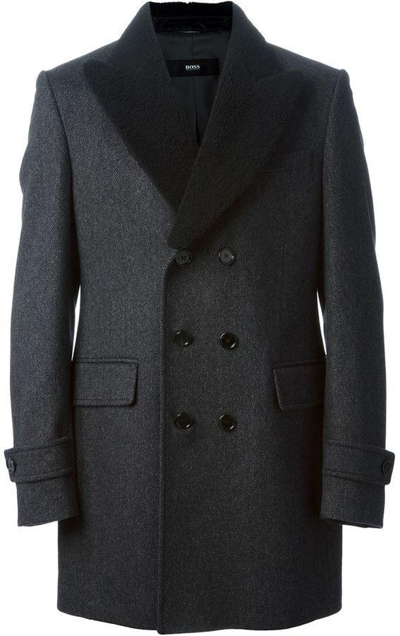 Farfetch Com Hugo Hugo Boss Lamb Fur Lapels Peacoat Wintermantel Herren Manner Outfit Herren Mantel