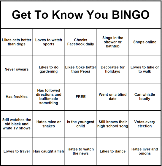 Getting To Know You Bingo Cards To Download Print And Customize Class Reunion Planning Family Reunion Planning 50th Class Reunion Ideas