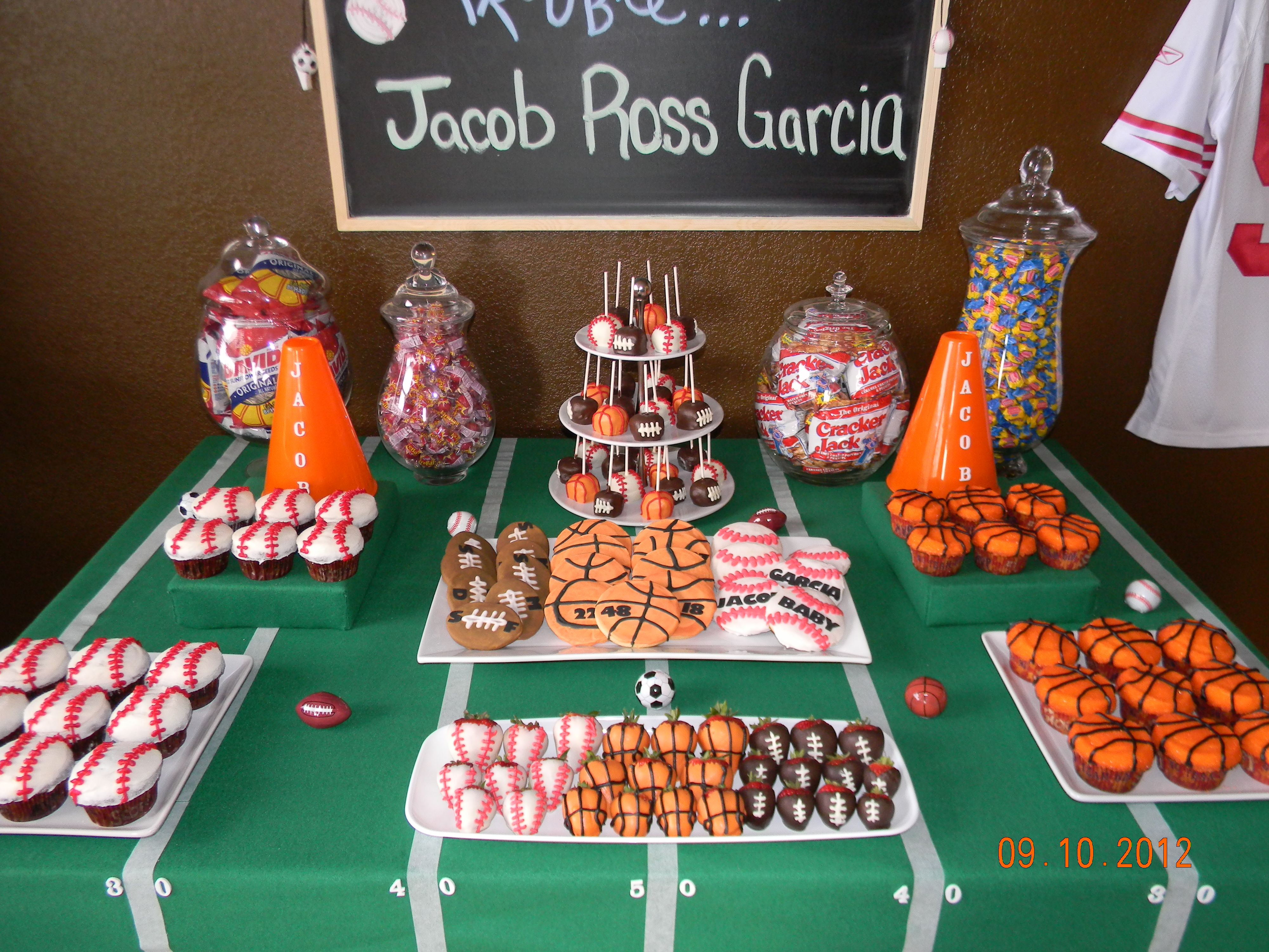 Sports dessert table! Baby Shower Games, Baby Shower Candy Table, Baby Boy  Shower
