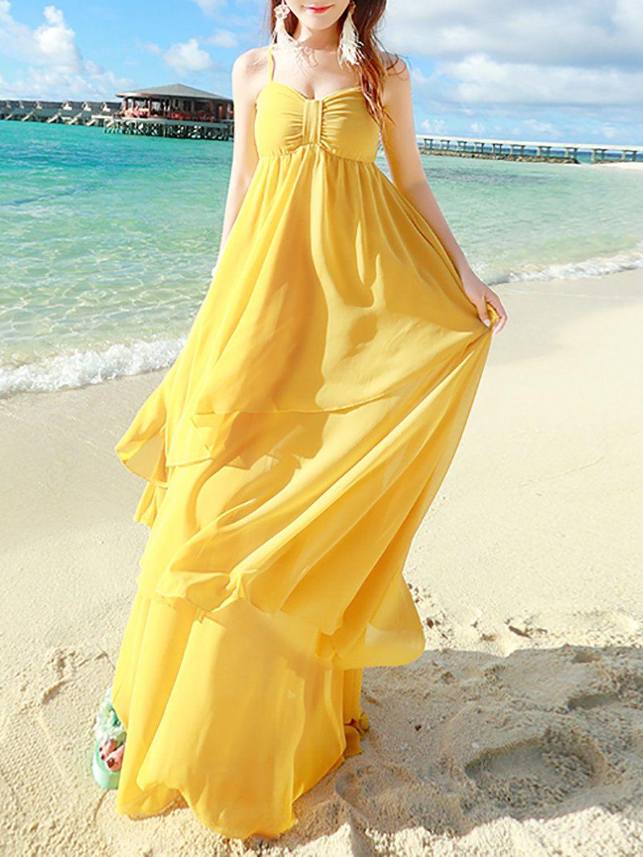 Adorewe stylewe maxi dresses missfox yellow boho ruffled aline