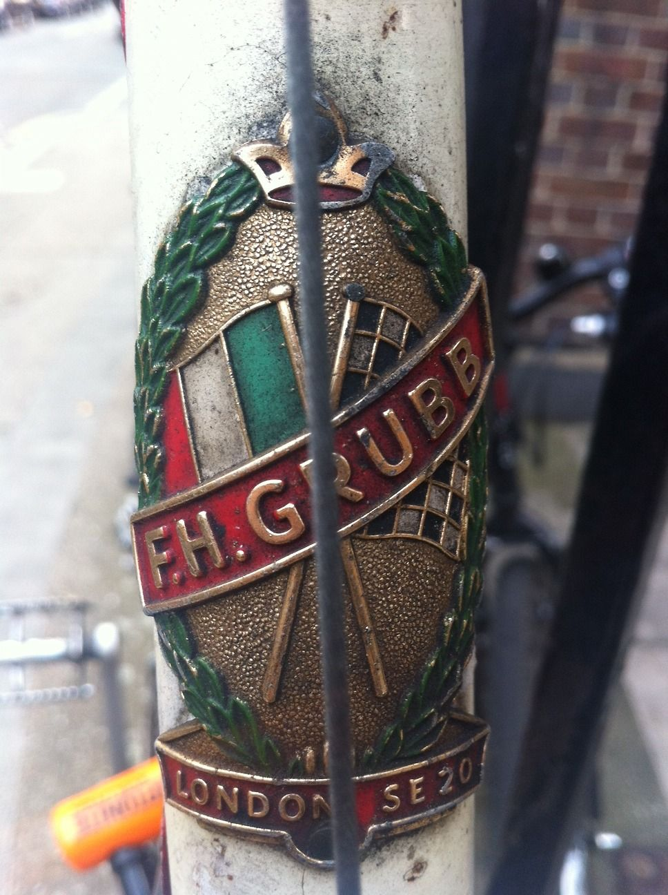 Headbadge on an F H Grubb frame from 1964.