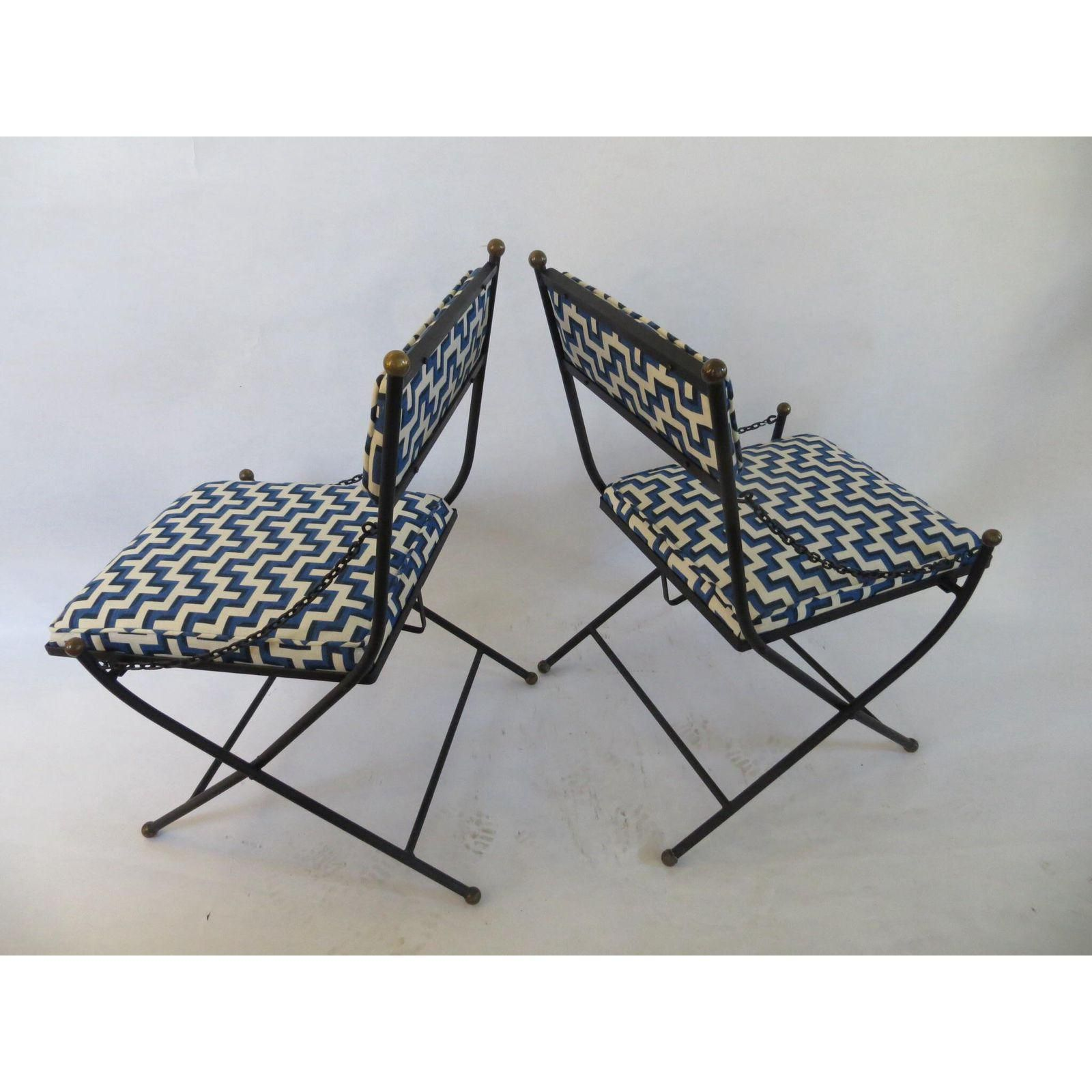 Beau Vintage Folding Wrought Iron Chairs   A Pair