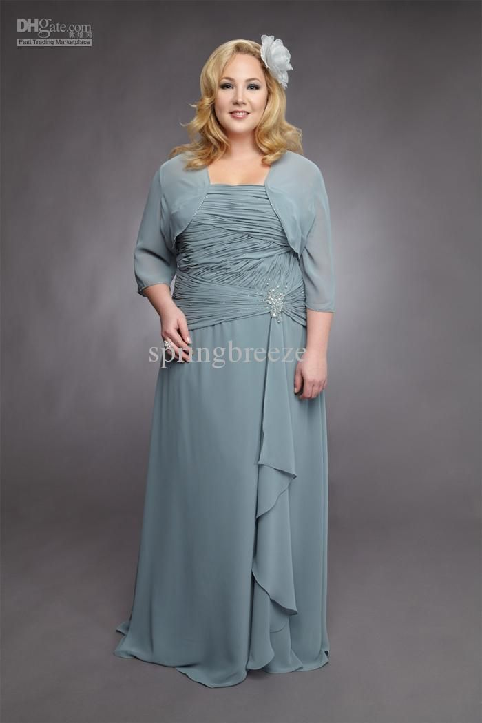 6433fa0896a Wholesale Chiffon ruching Jacket plus size Mother of the Bride Dress Formal  Dress Prom Gown A-line skirt BM657