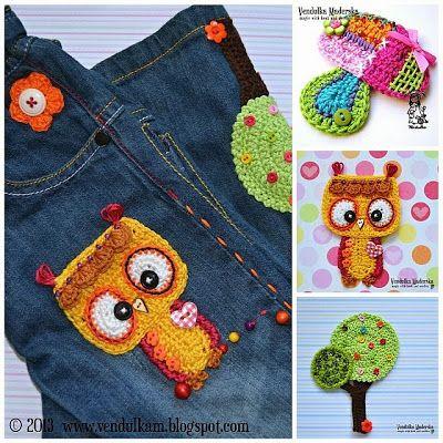 Häkeln Eule Baum Und Pilz Applikationen Crochet Pinterest