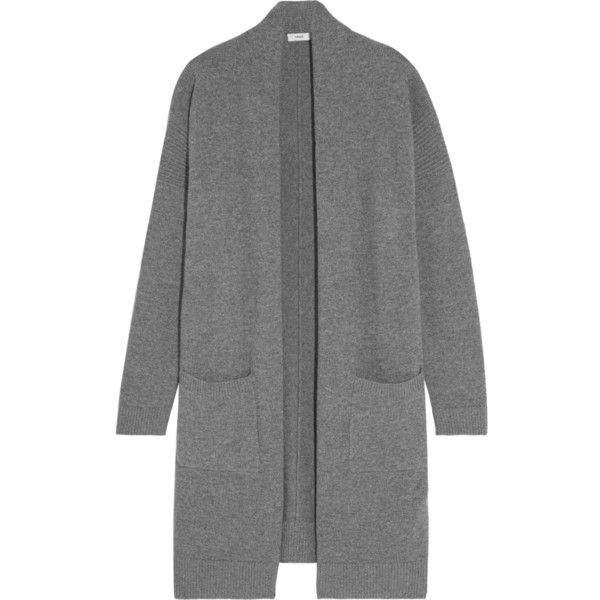 Vince Wool and cashmere-blend cardigan (4.470 ARS) ❤ liked on Polyvore featuring tops, cardigans, sweaters, outerwear, jackets, wool cardigan, long oversized tops, long wool cardigan, drape back top and shawl collar cardigan