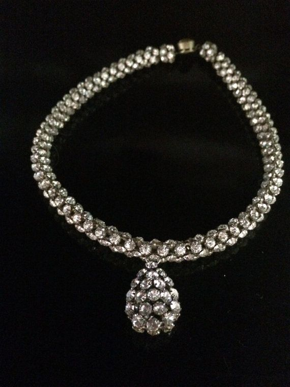 Ladies necklace vintage rhinestone by Jewels4Africa on Etsy, $30.00